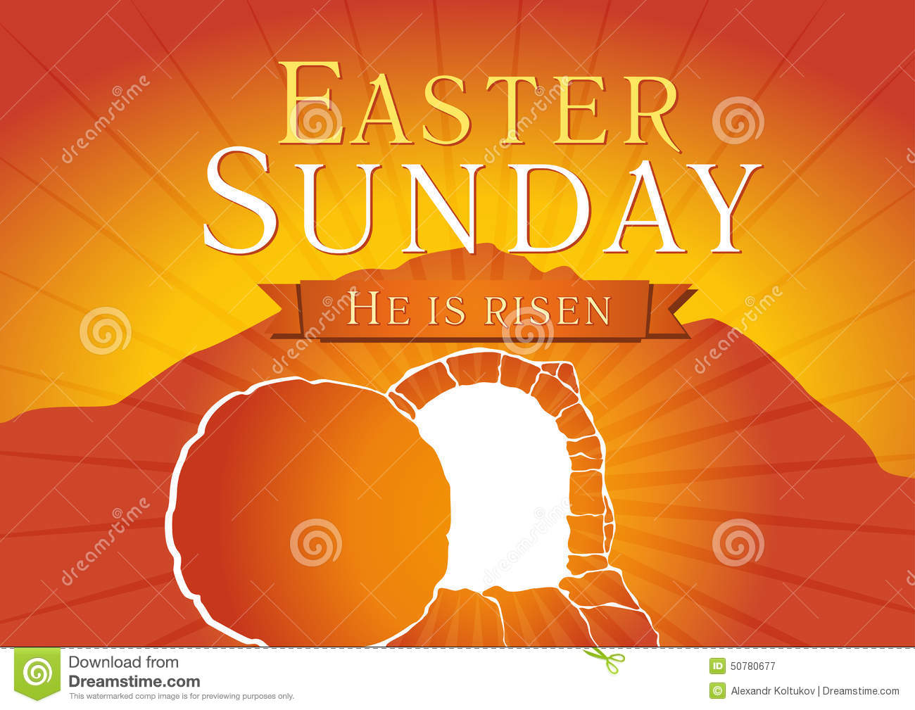 Template invitation to an Easter Sunday service in the form of rolled ...