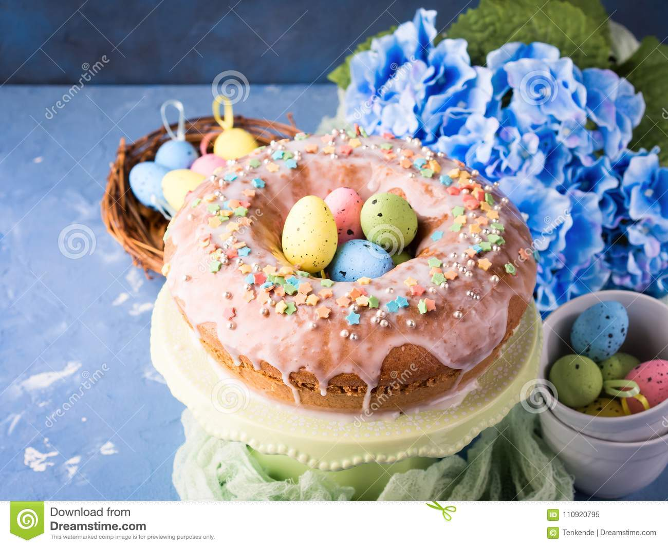 Easter Sweet Cake With Sugar Frosting And Holiday Decor Stock Image