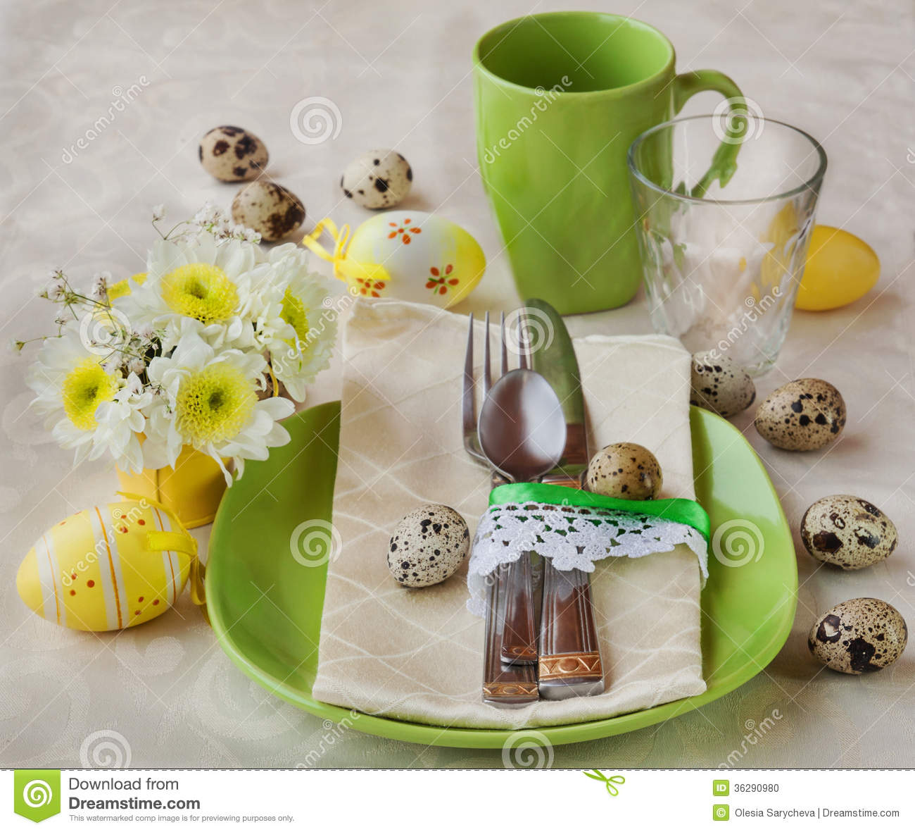 Spring Or Easter Table Setting With Decorations Royalty Free Stock ...