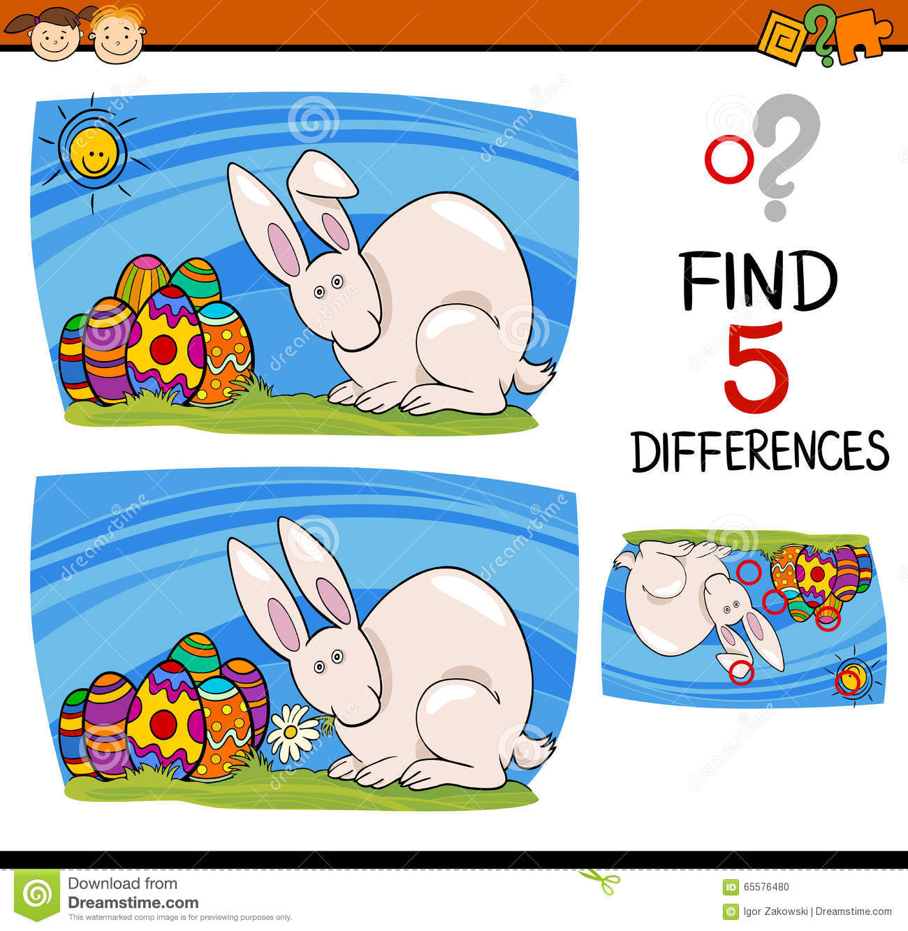 Easter task of differences stock vector. Illustration of different ...