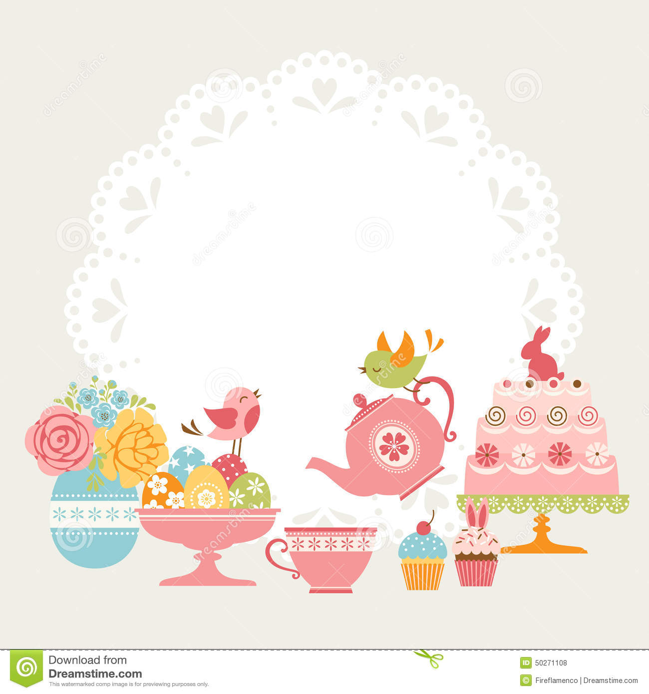 Easter tea party stock vector. Illustration of eggs, cute - 50271108