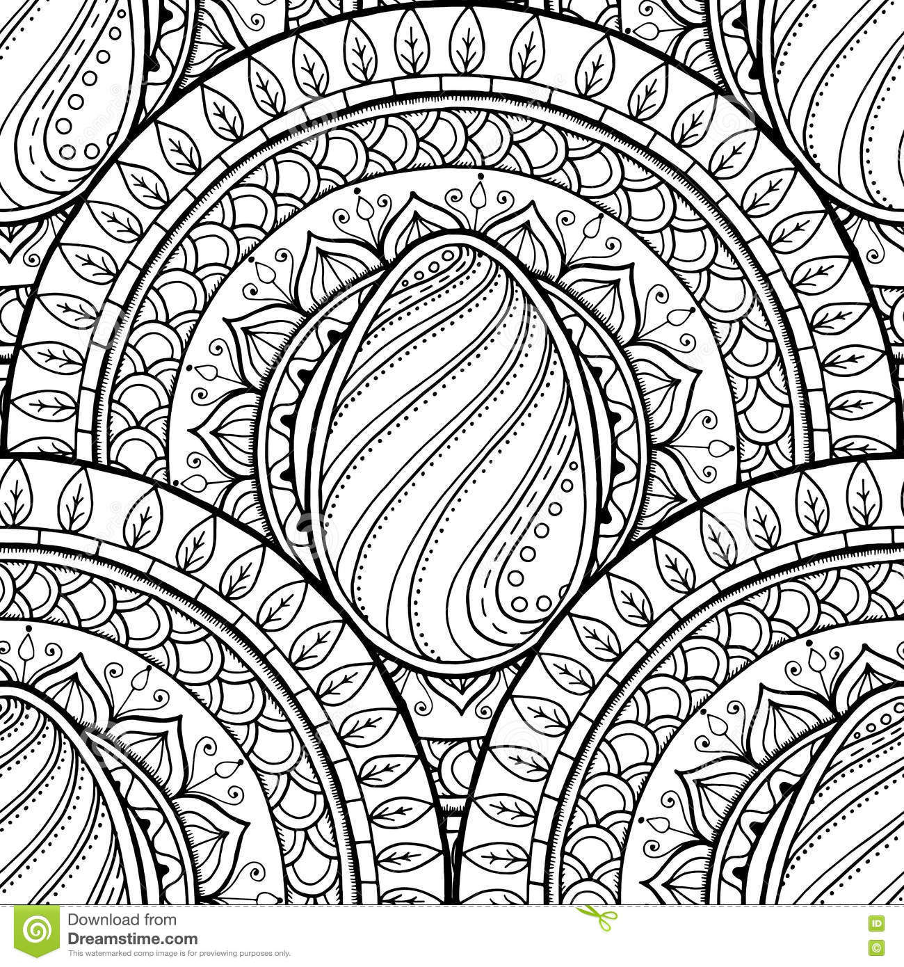 Easter Theme Mandala With Doodle Egg Ethnic Floral Pattern Black