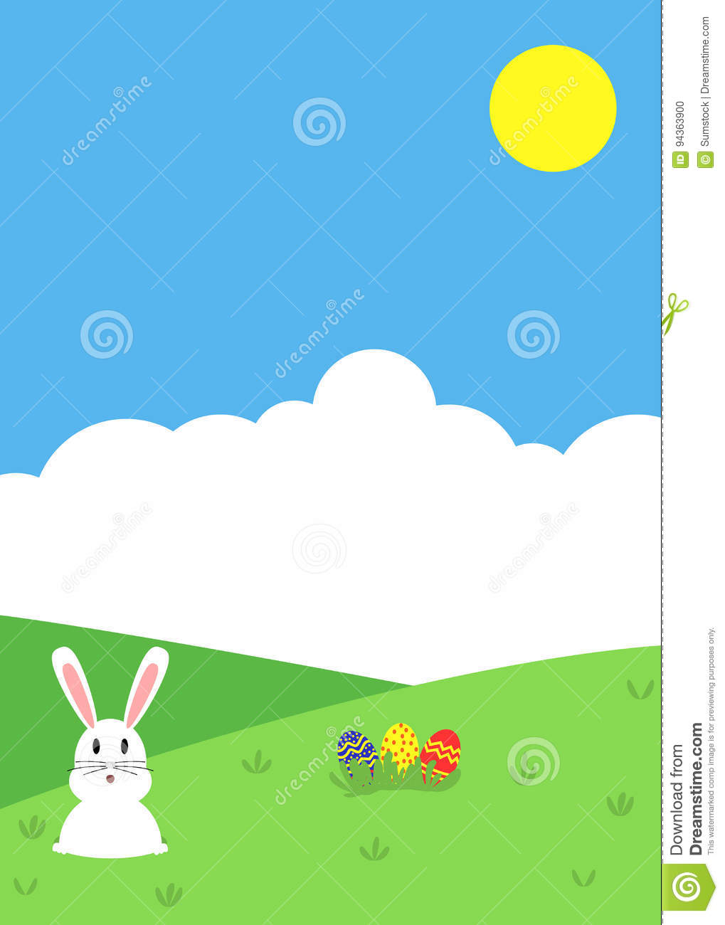 easter themed nature background with bunny and colorful eggs stock