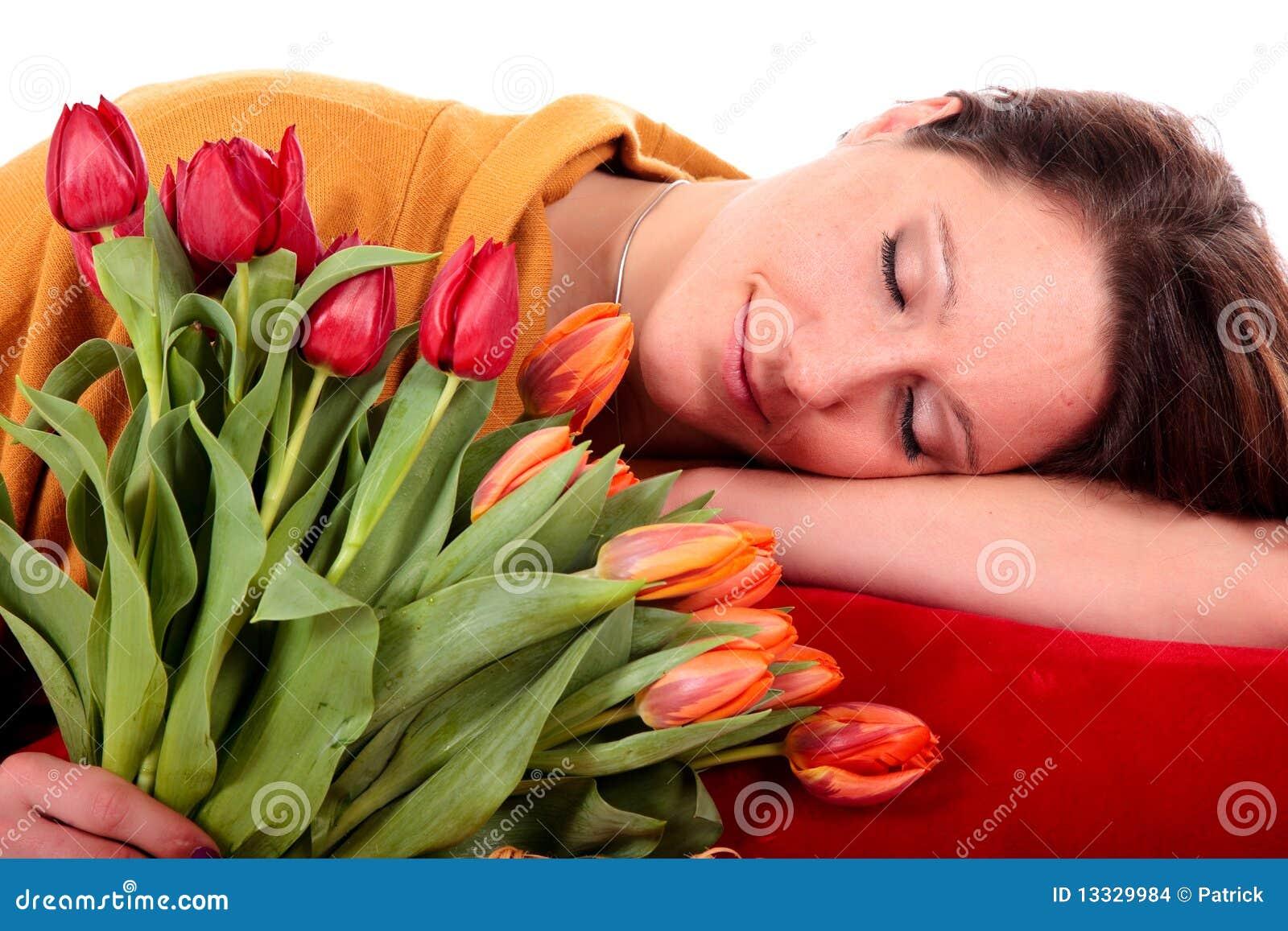 Easter tulipanów kobieta
