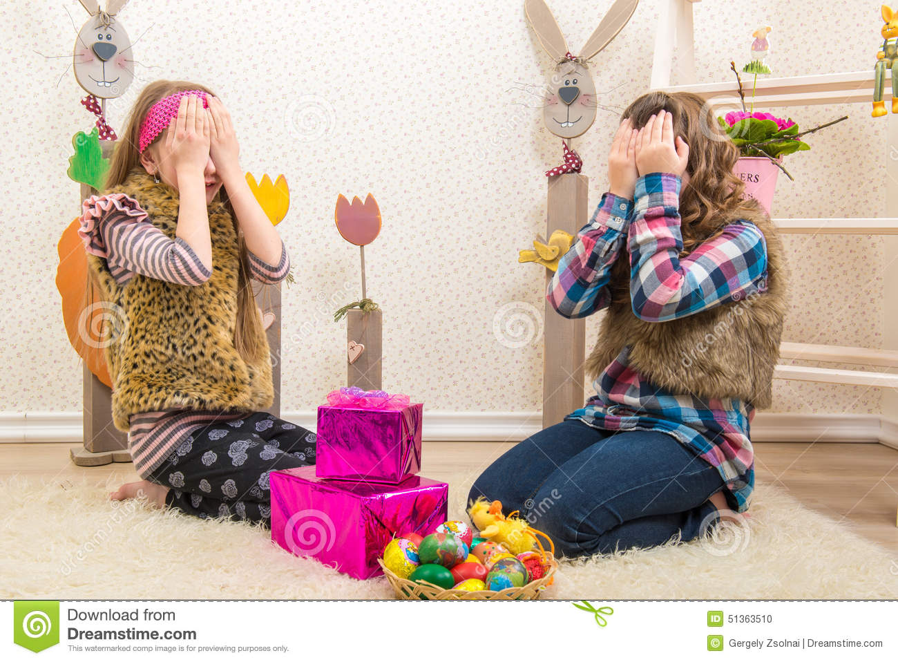 Easter two sisters girlfriend surprised easter gift stock photo royalty free stock photo download easter two sisters girlfriend surprised easter gift negle Gallery