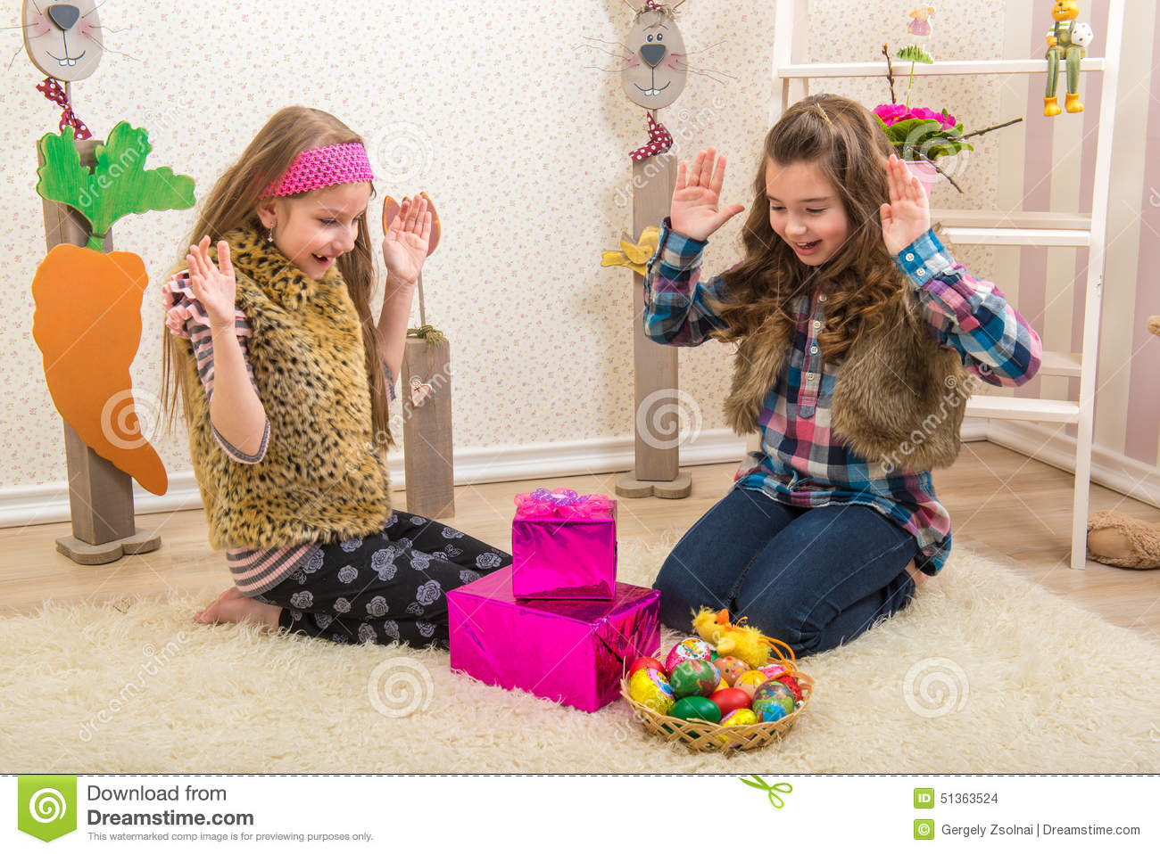Easter two sisters girlfriend surprised easter gift stock photo easter gift girlfriend negle Gallery