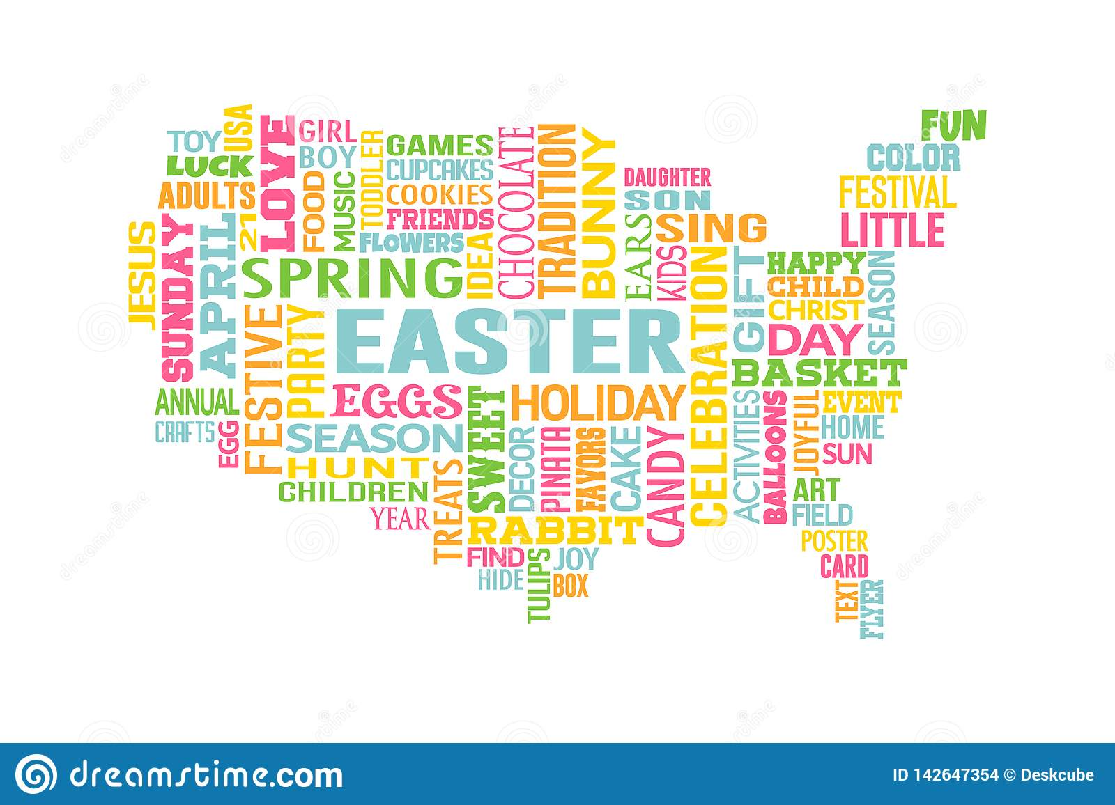 Easter In The United States Of America Word Map Stock Vector - Easter-us-map