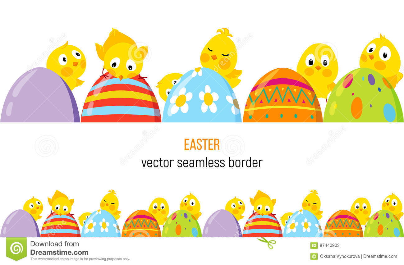 Easter Vector Border With Cute Chicks And Eggs Stock