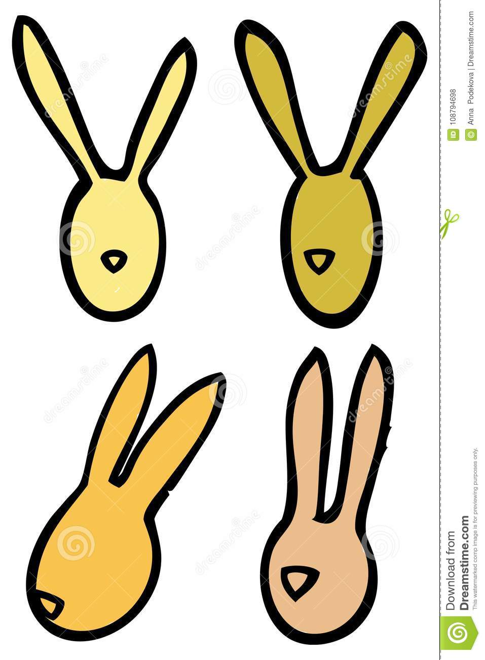 Easter vector linear bunnies rabbits head silhouettes in bright colors