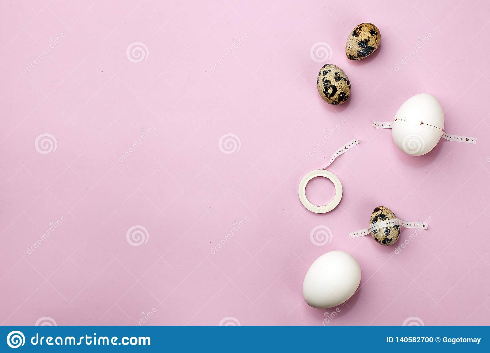 Easter vibes holiday card. Modern art. Celebrate Easter tradition. Set of eggs with scotch tape on pink purple background, minimal
