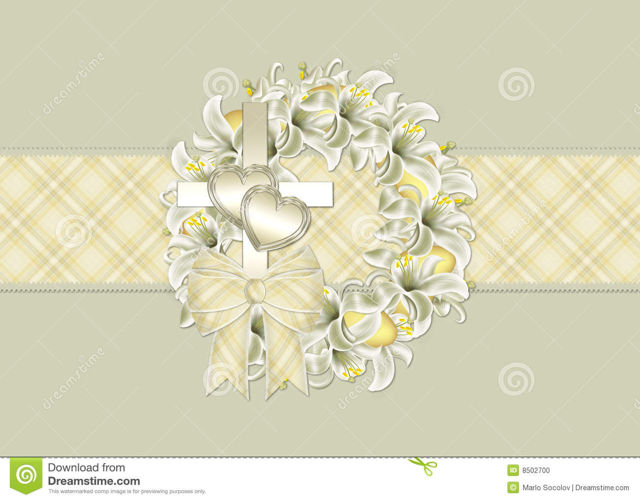 Easter Wreath Christian Greeting Card Stock Illustration