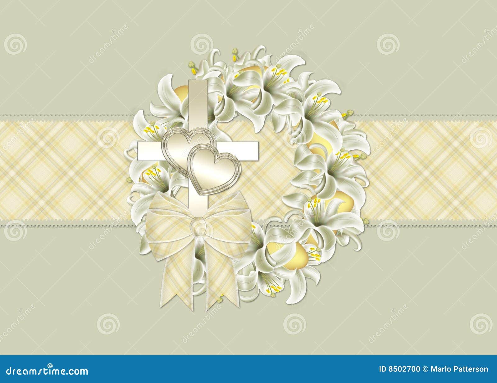 Easter Wreath Christian Greeting Card Stock Illustration