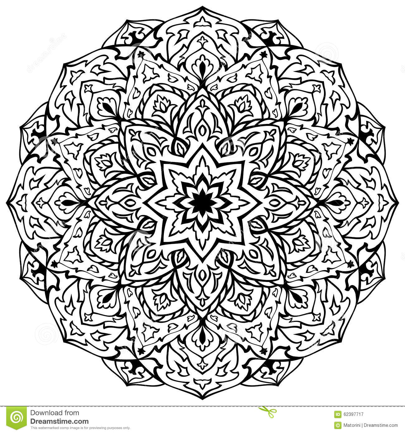 Eastern black and white mandala stock vector image 62397717 - Any design using black and white ...