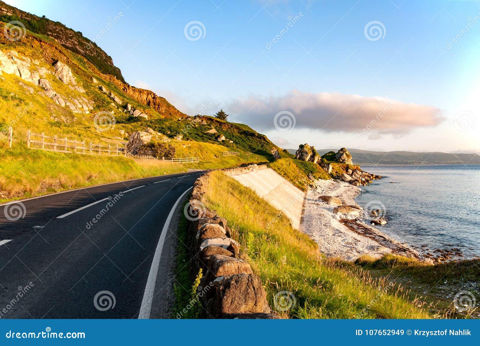 Antrim Coastal Road in Northern Ireland, UK