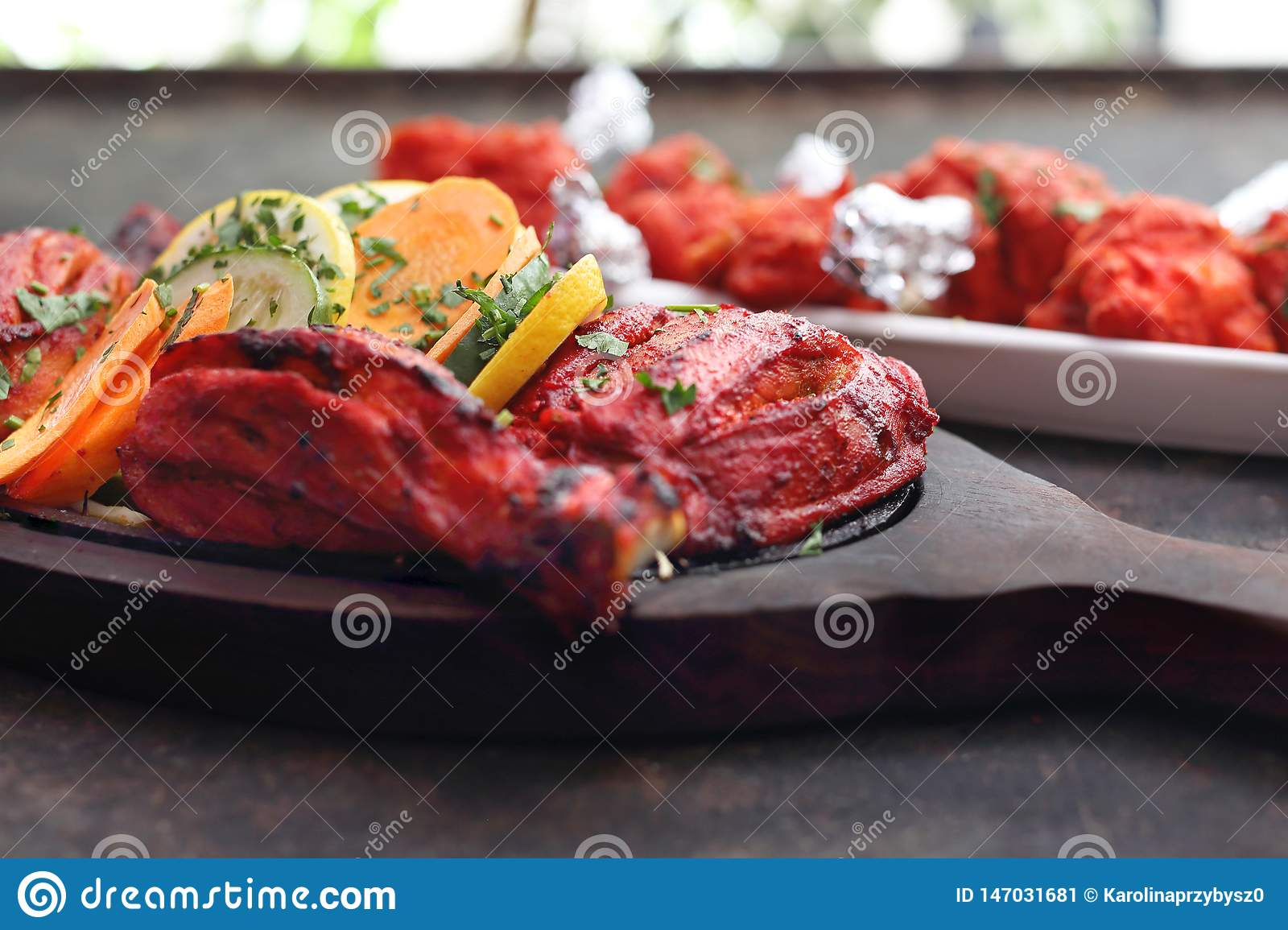 Eastern cuisine. Thai style chicken. Aromatic colorful oriental cuisine