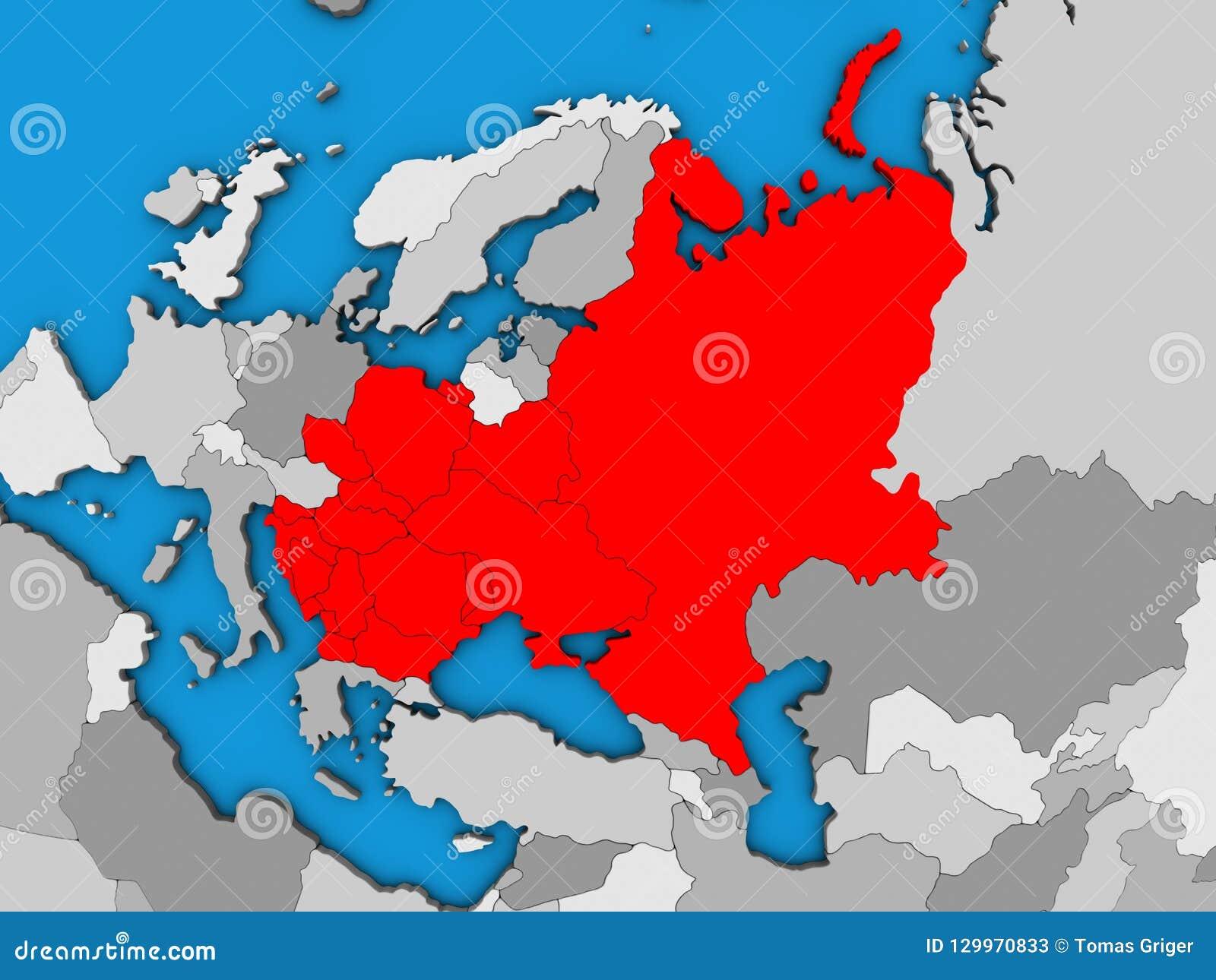 Political Map Eastern Europe.Eastern Europe On 3d Map Stock Illustration Illustration Of Europe