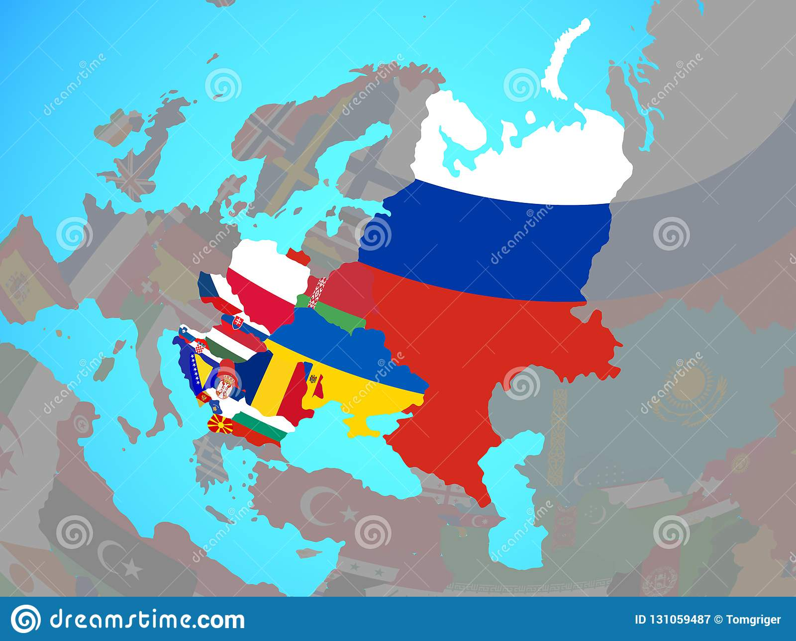 Eastern Europe With Flags On Map Stock Illustration ...