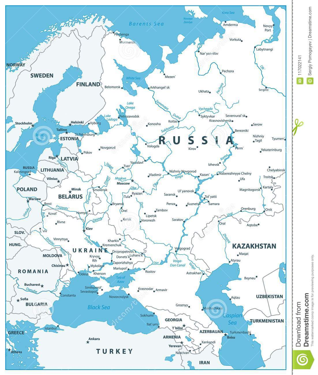 Eastern Europe Map White Color Stock Vector - Illustration ...