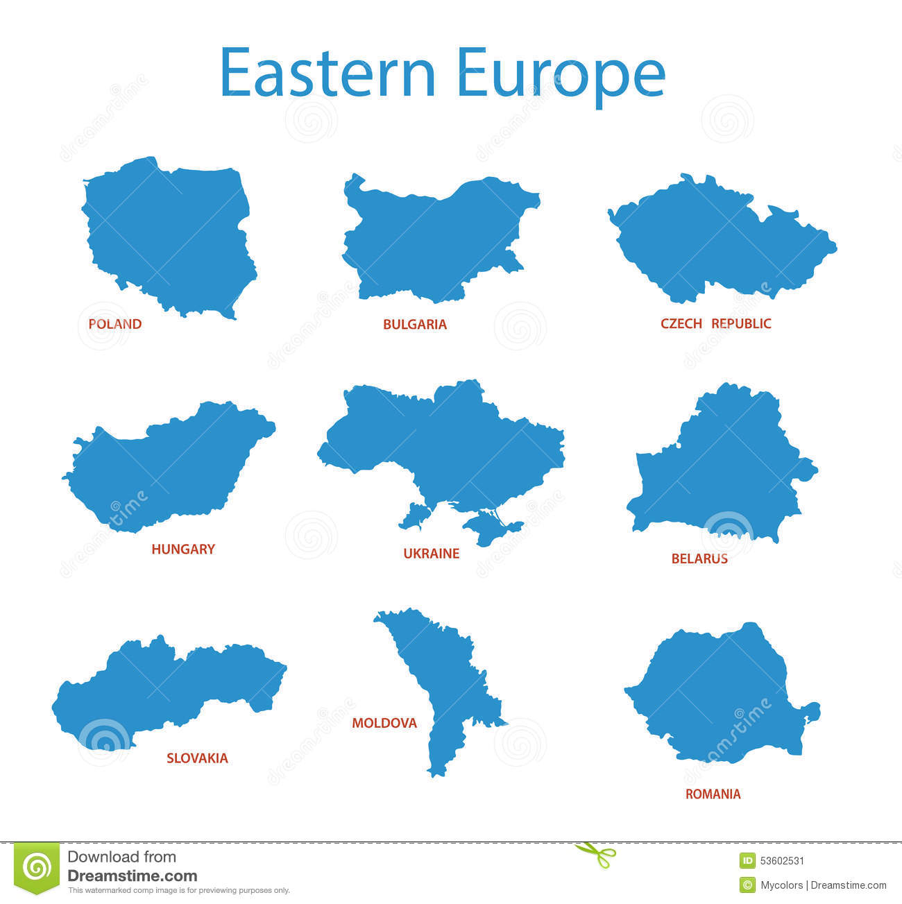 Eastern Europe Maps Of Territories Vector Stock Vector Image 53602531
