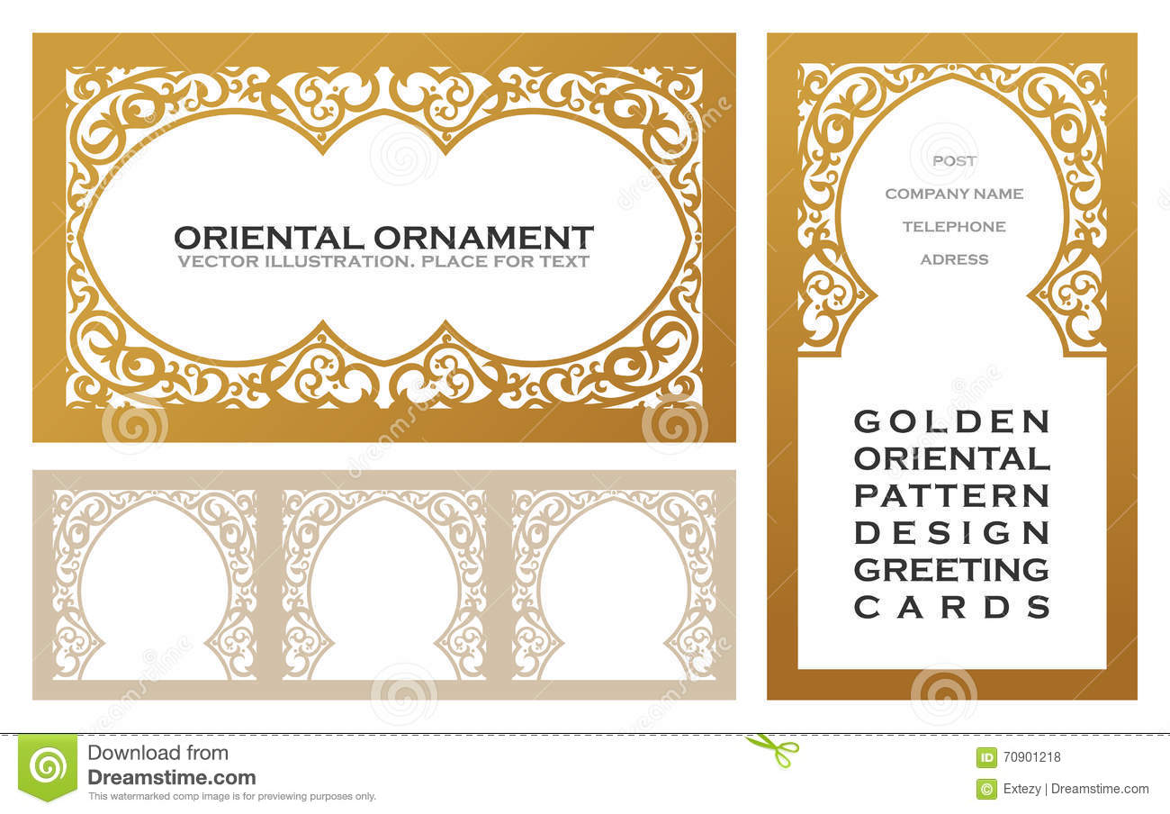 Eastern set gold line frames for design template elements for Decor outline