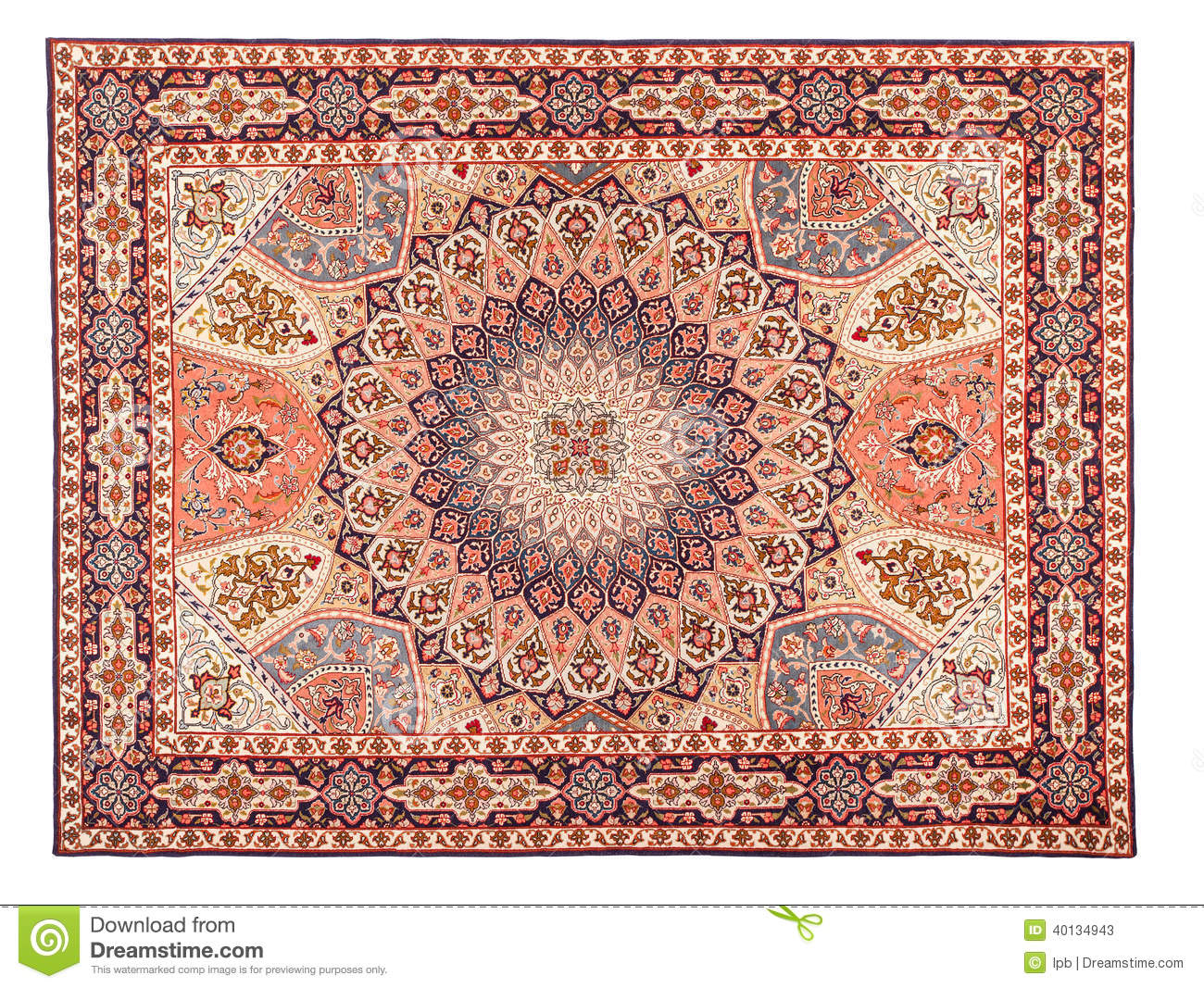 Eastern Silky Carpet Classic Arabic Pattern Stock Photo