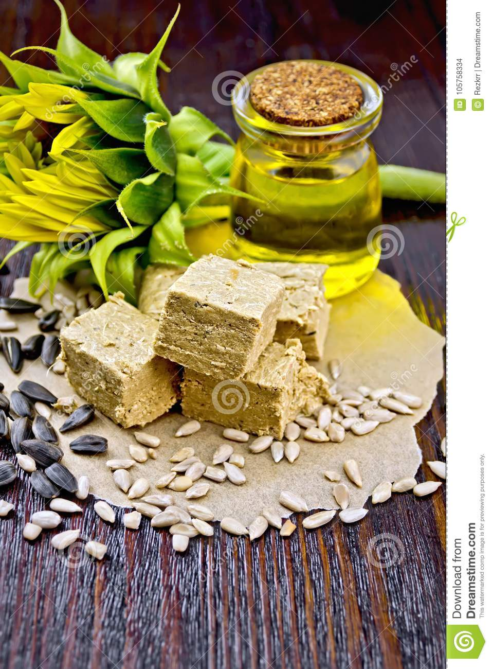 Halva On Paper With Seeds And Oil Stock Photo Image Of Paper