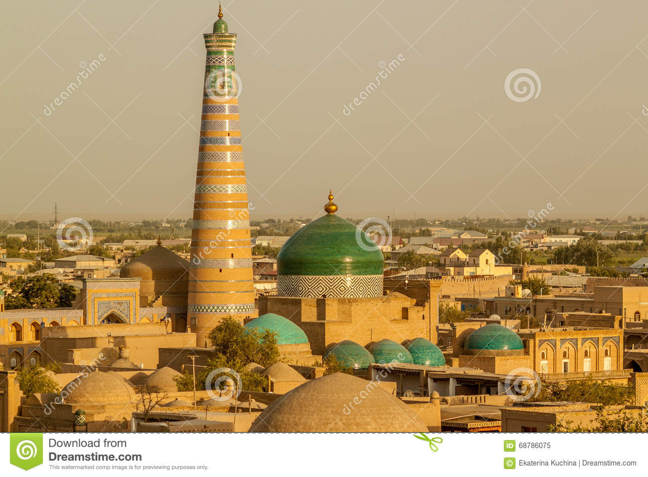 29dda807d68f5c View of the city of Khiva from the top. 6 blue domes of mosques and  madrassahs and high minarets with turquoise stripes. Beautiful architecture  of Central ...