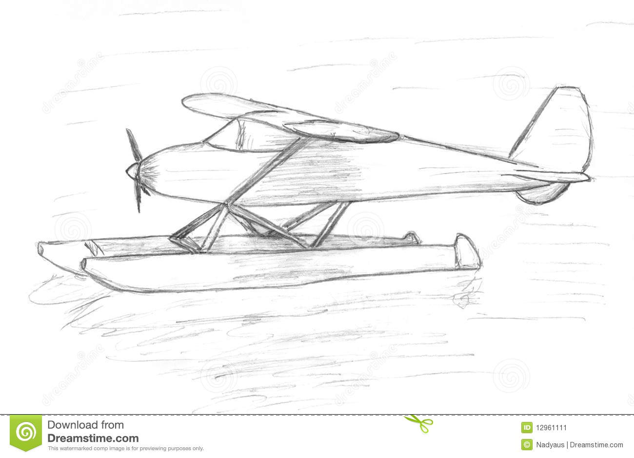 Easy Airplane Sits On The Water Sketch Stock Illustration