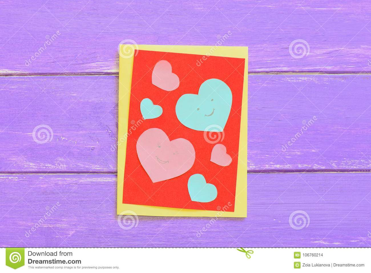 Valentines Day Or Mothers Day Paper Card With Pink And Blue Hearts