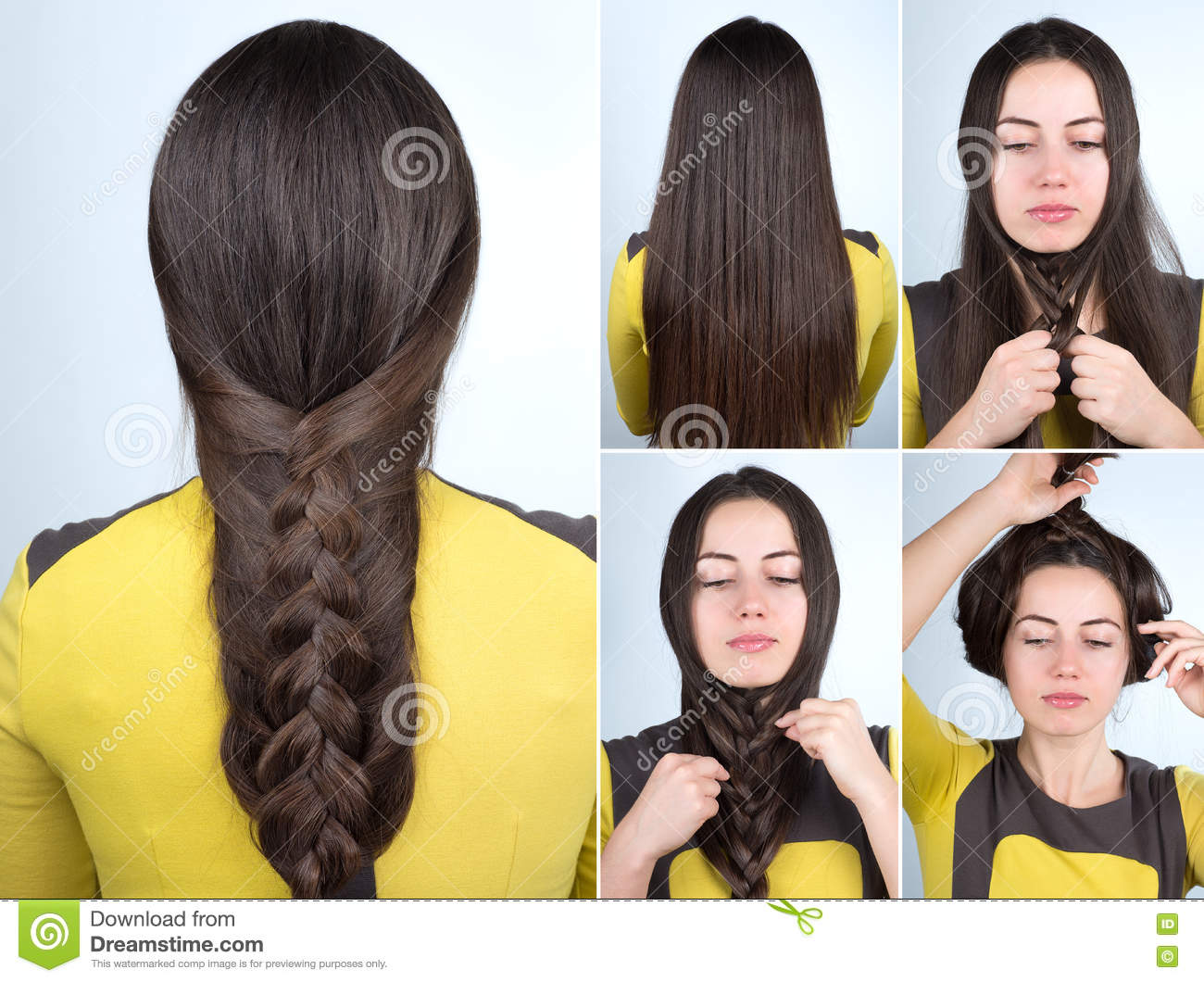 Easy Braid Hairstyle Tutorial Stock Photo - Image of step, simple