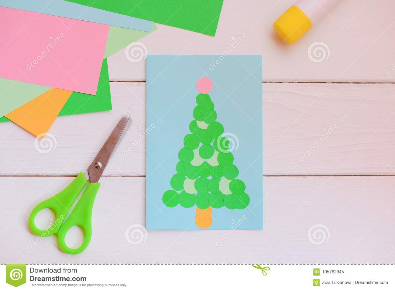 Paper Christmas Greeting Card Made Of Simple Geometric Shapes ...