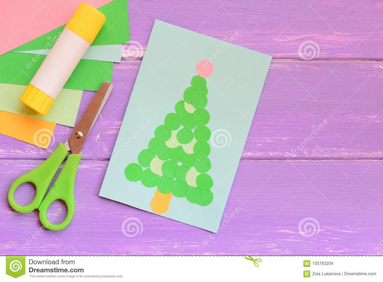 Paper Christmas Greeting Card Colored Paper Sheets Set Scissors