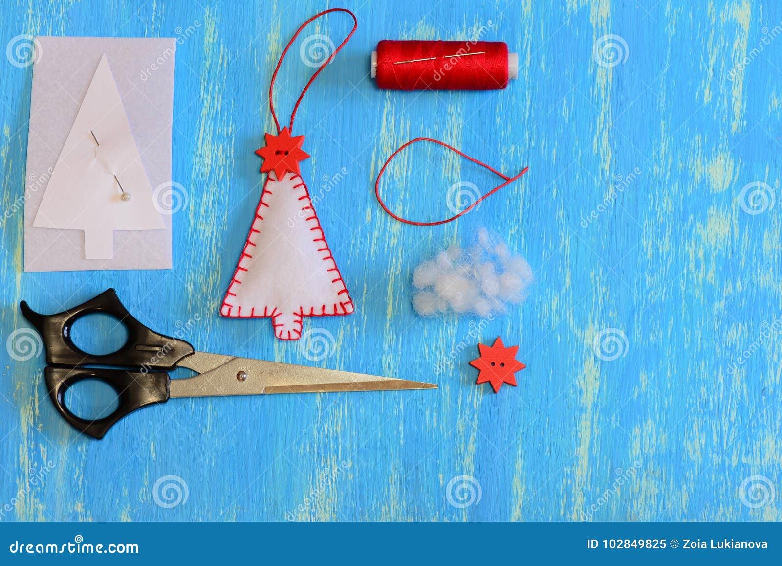 Homemade Felt Christmas Tree Paper Template Felt Thread Needle