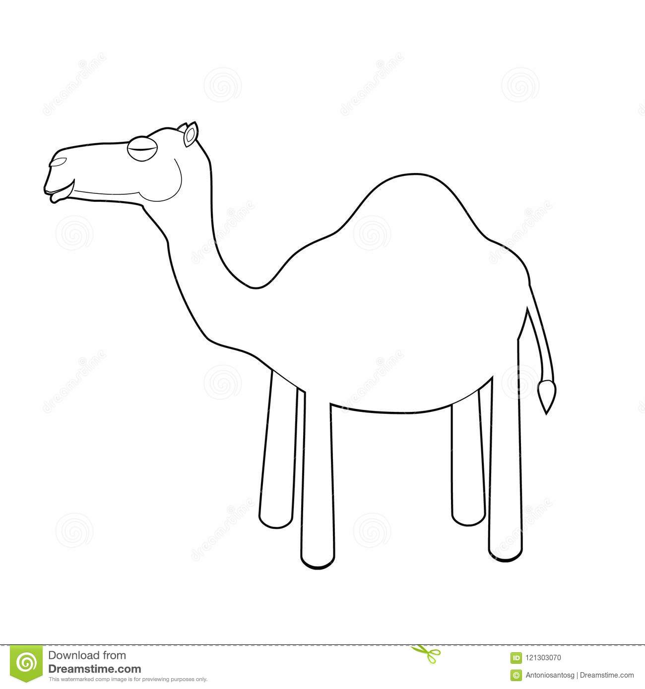 Easy Coloring Animals For Kids: Camel Stock Vector - Illustration of