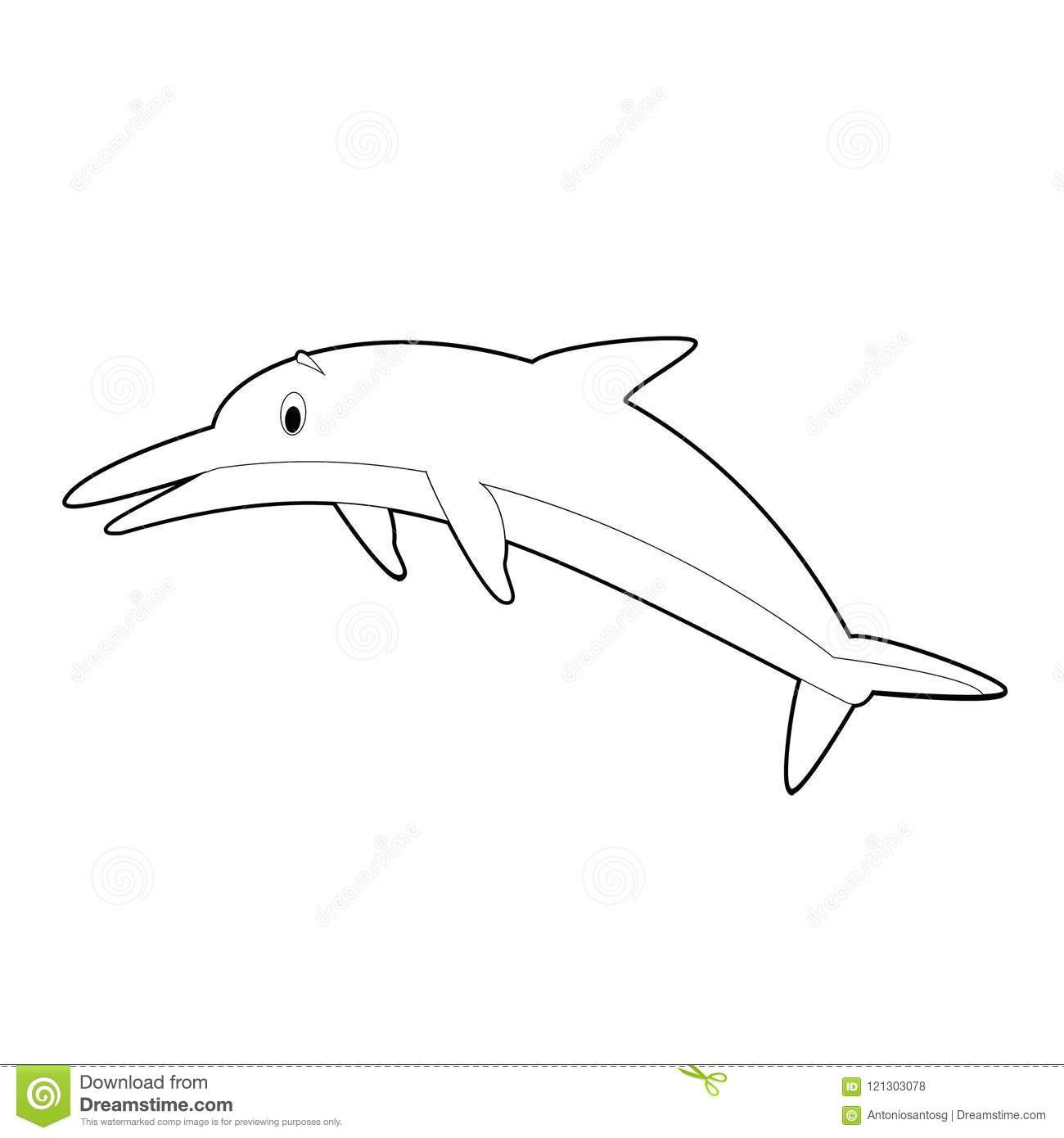 Easy coloring drawings of animals for little kids dolphin vector illustration