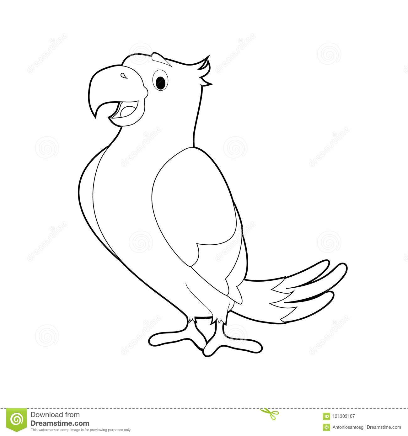Easy Coloring Animals For Kids Parrot Stock Vector Illustration