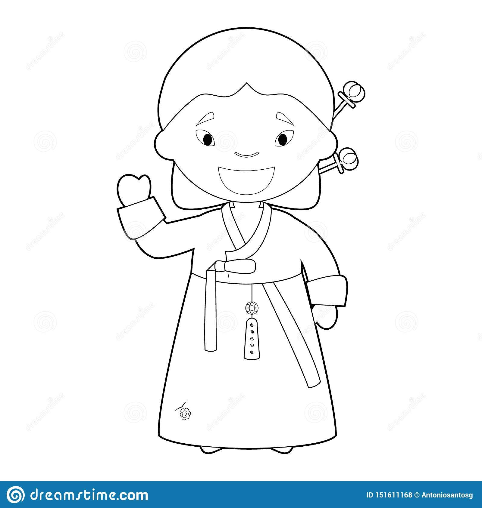 Easy Coloring Cartoon Character From South Korea Dressed In The