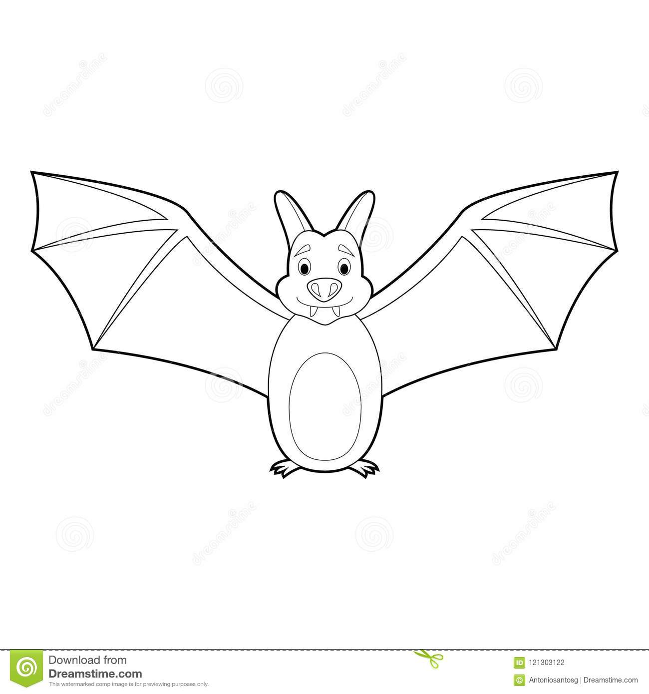 Easy Coloring Animals For Kids Bat Stock Vector Illustration Of