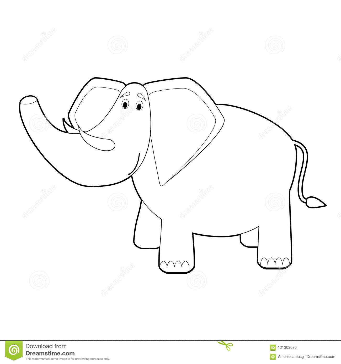 Easy Coloring drawings of animals for little kids  Elephant. Vector  illustration ba4967840