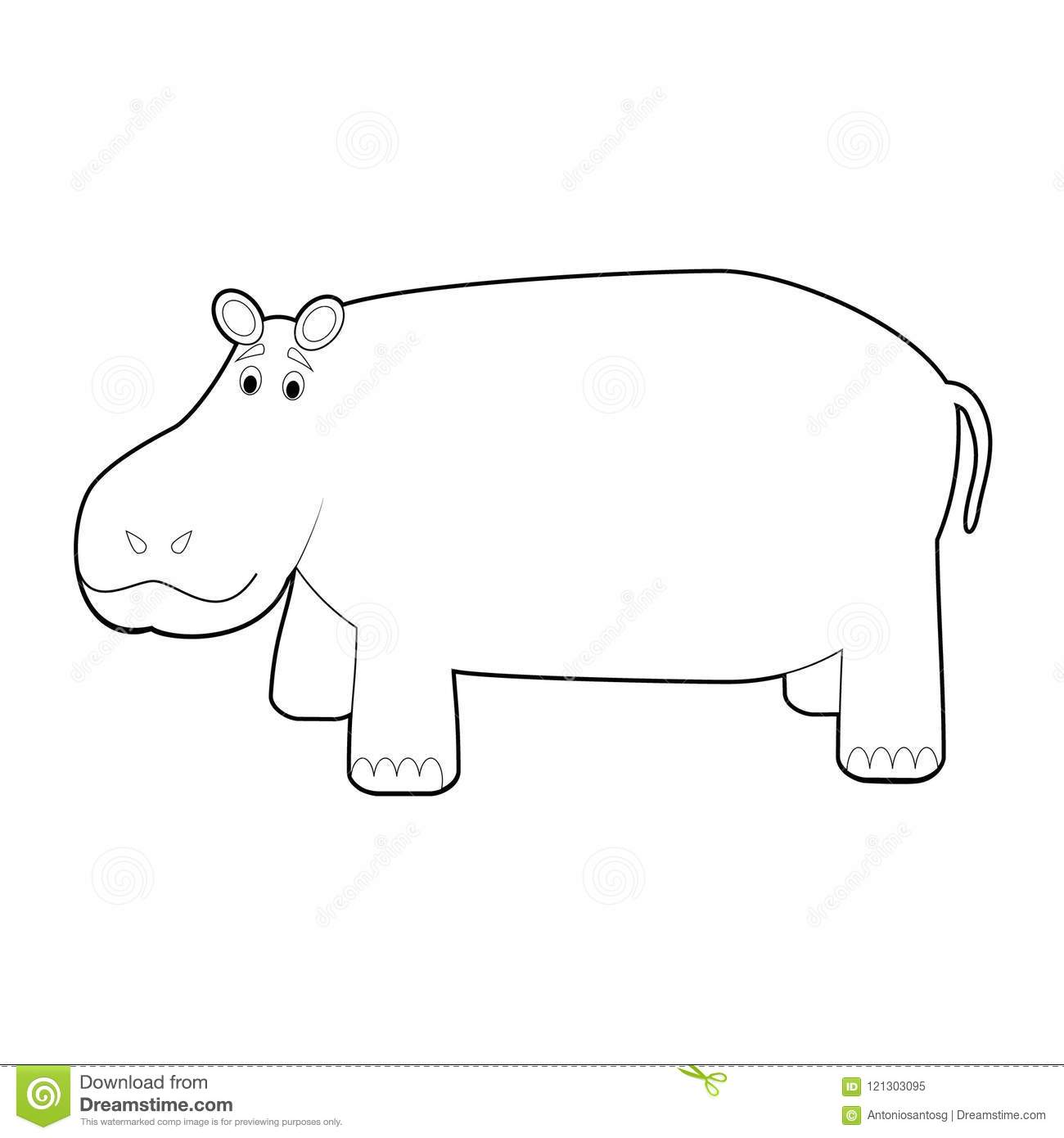 easy coloring animals for kids hippo stock vector illustration of