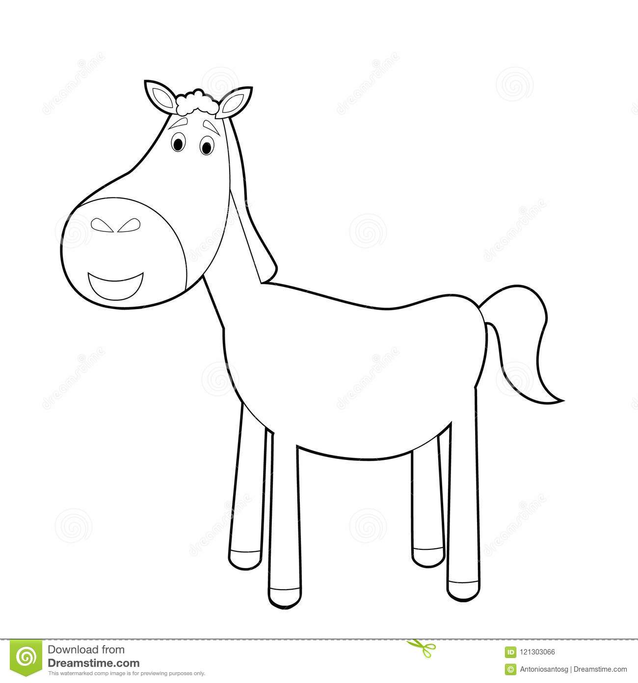 Easy Coloring Animals For Kids Horse Stock Vector Illustration Of