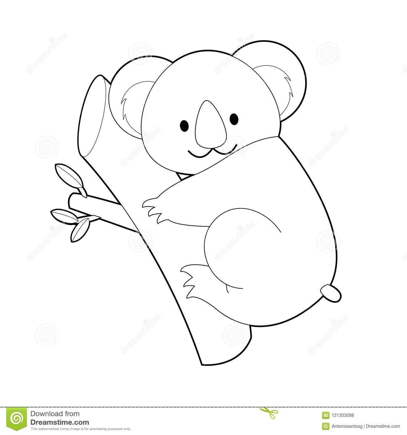 Easy Coloring Animals For Kids Koala Stock Vector Illustration Of