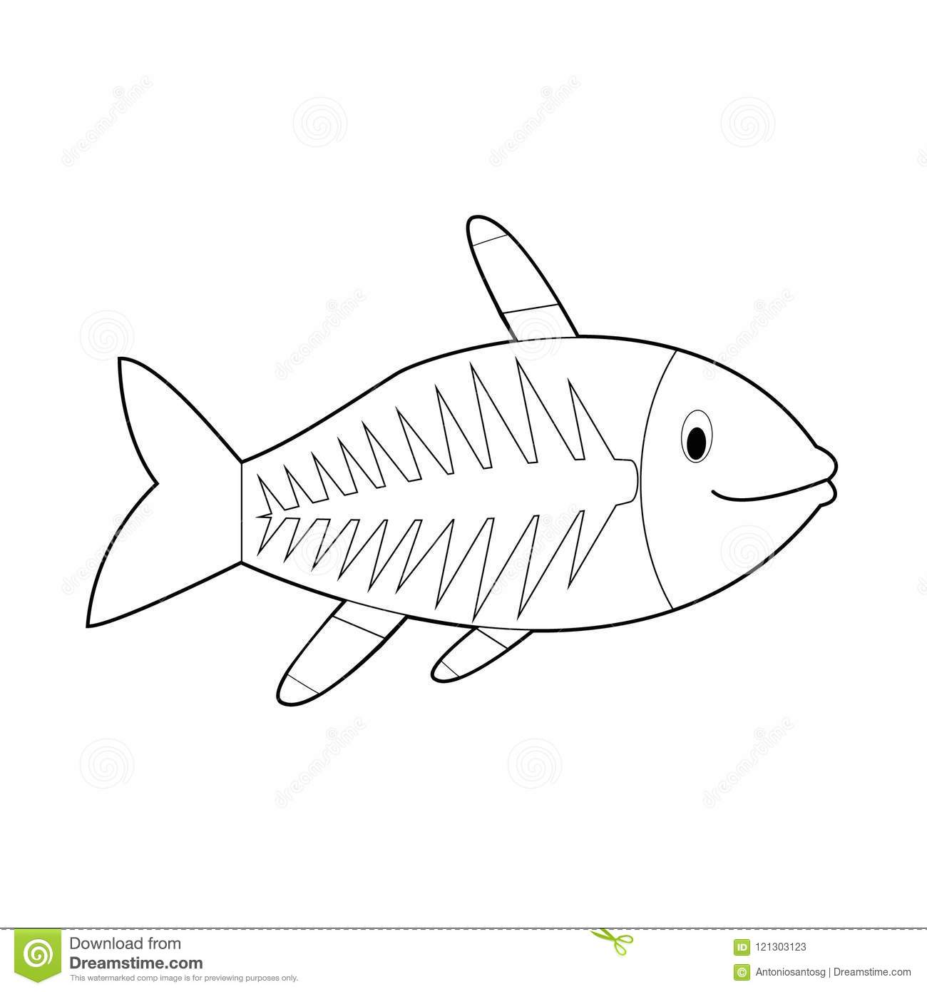 Easy Coloring Animals For Kids: X-Ray Fish Stock Vector ...