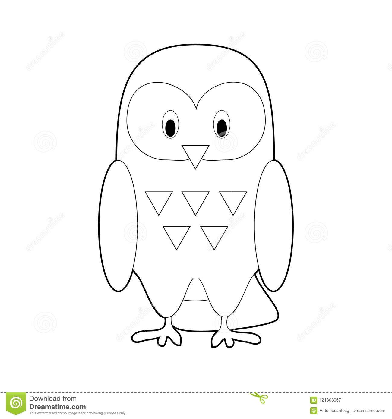 Easy Coloring Animals For Kids Snowy Owl Stock Vector