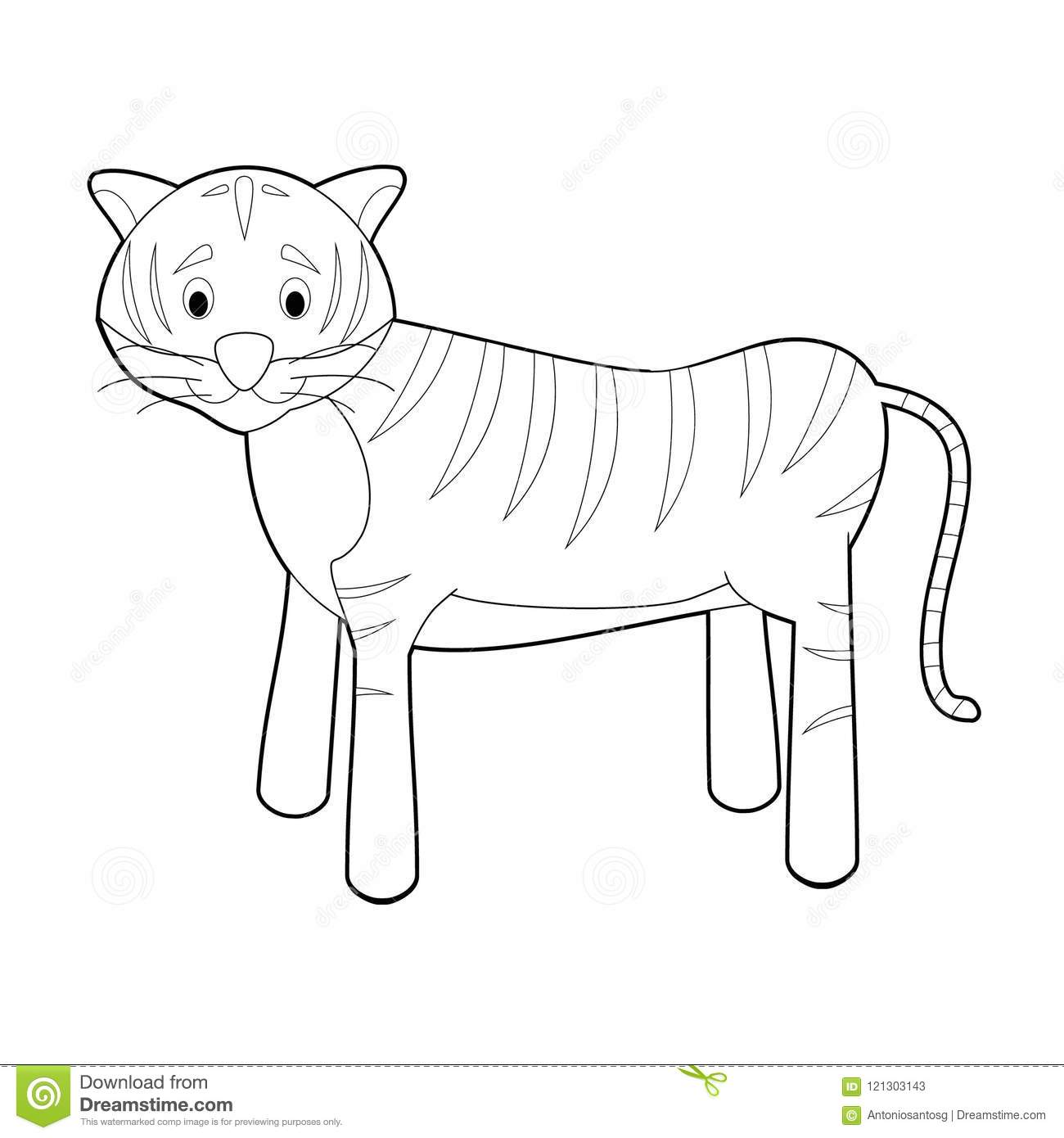 Easy Coloring Animals For Kids Tiger Stock Vector Illustration Of