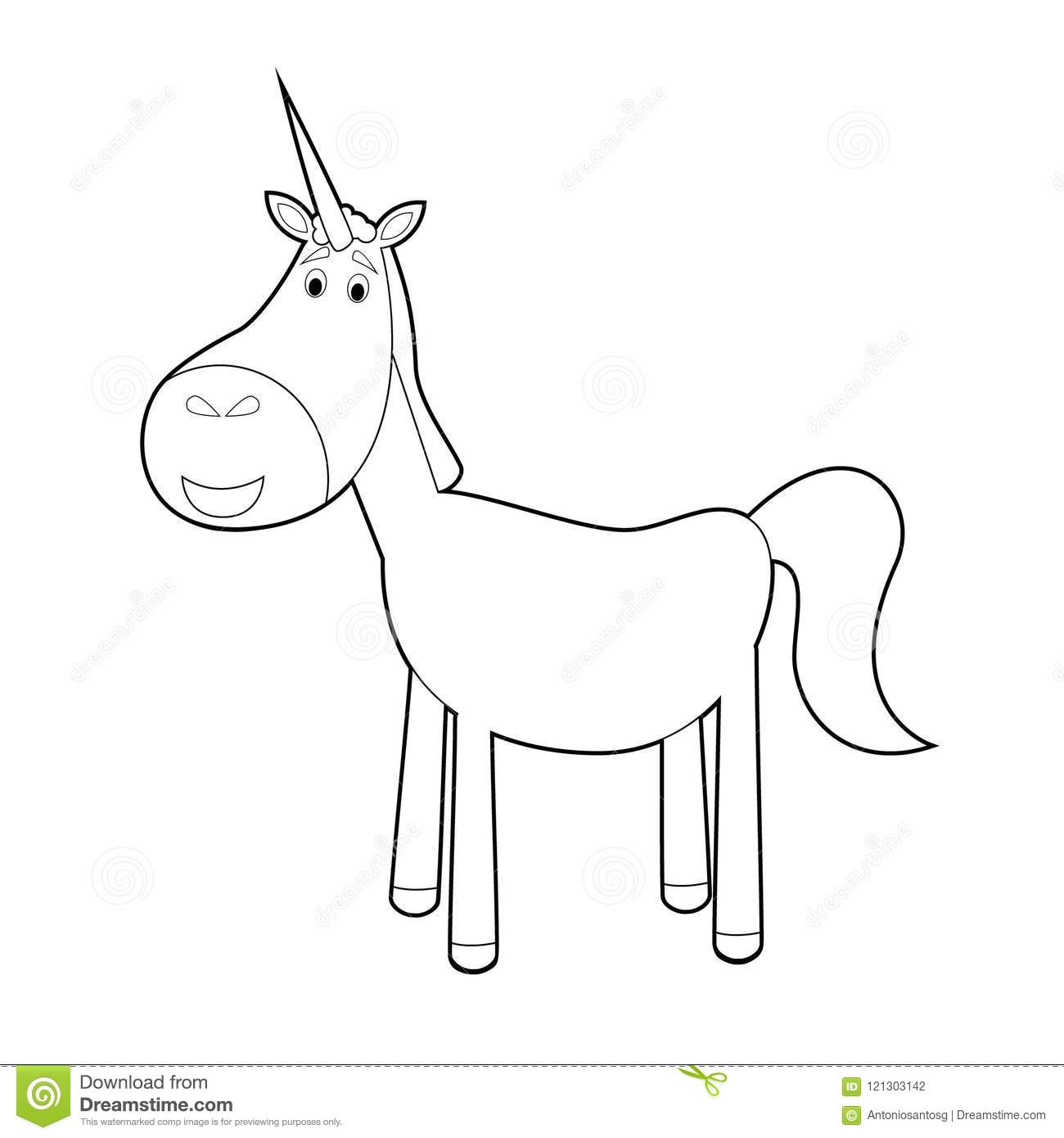 Easy Coloring Animals For Kids Unicorn Stock Vector Illustration