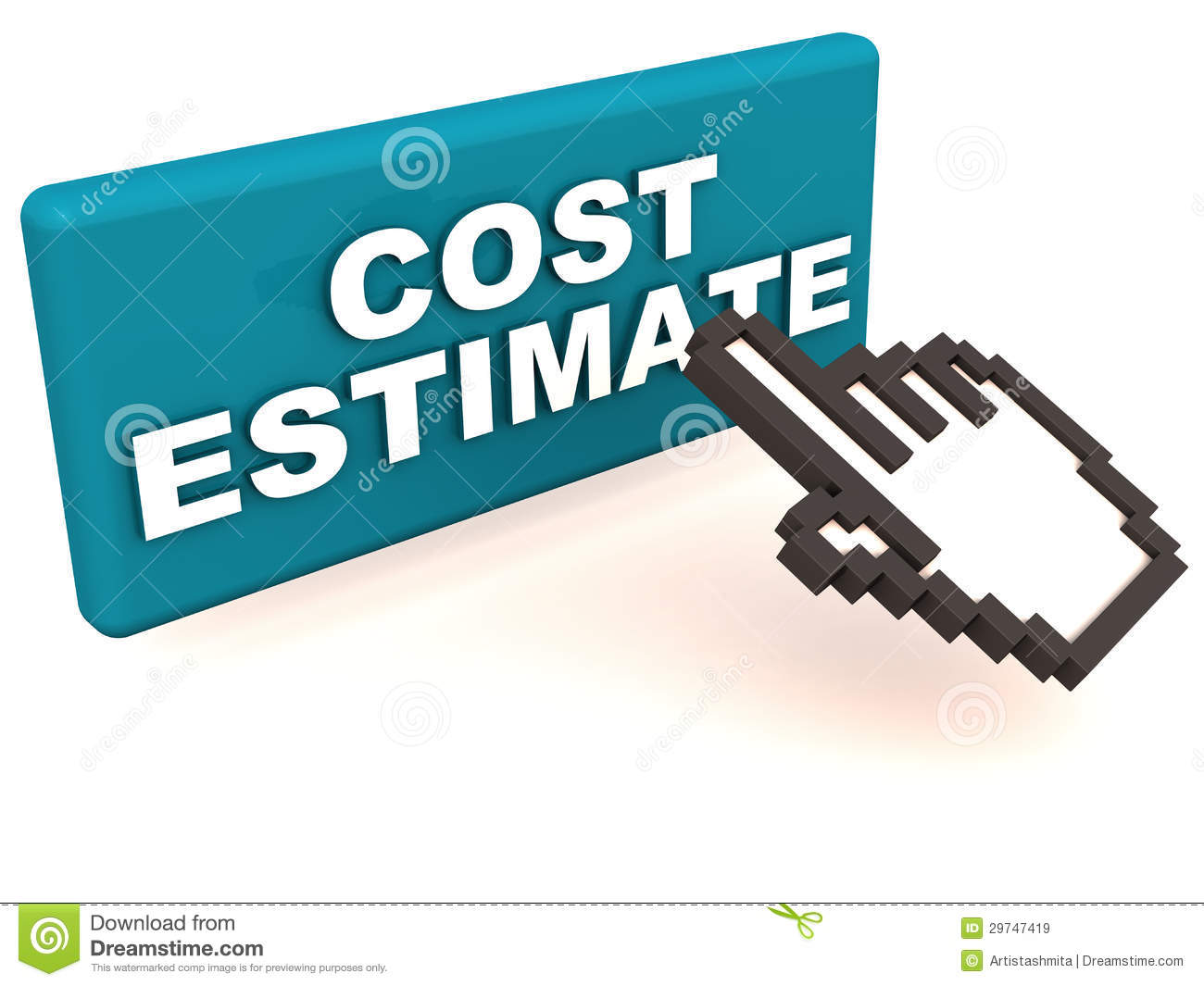 easy cost estimate just click button hand icon clicking button cost estimate label white background 29747419
