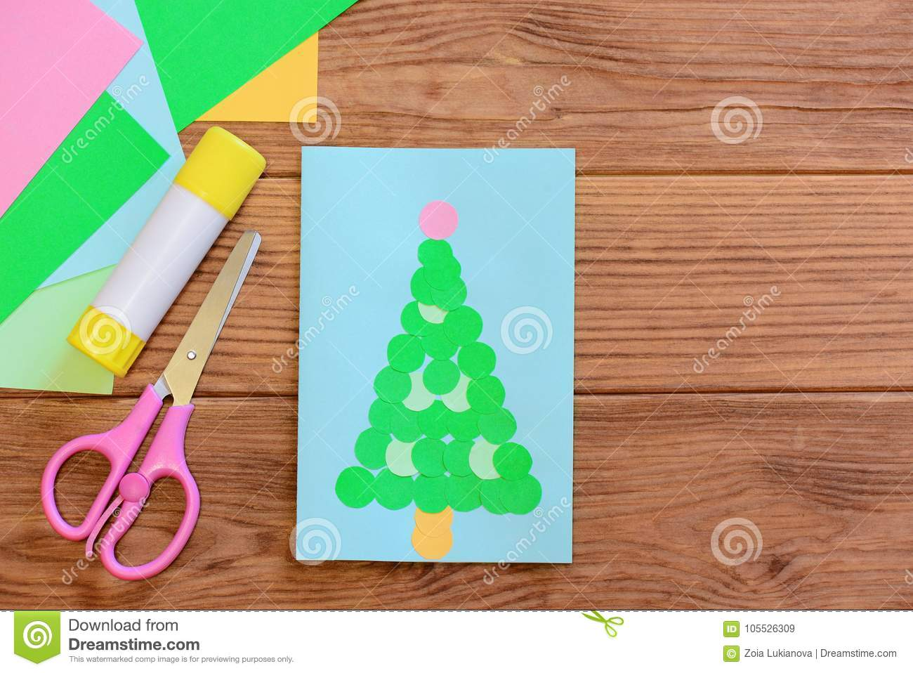 Winter Holiday Card Merry Christmas Greeting Card Colored Paper