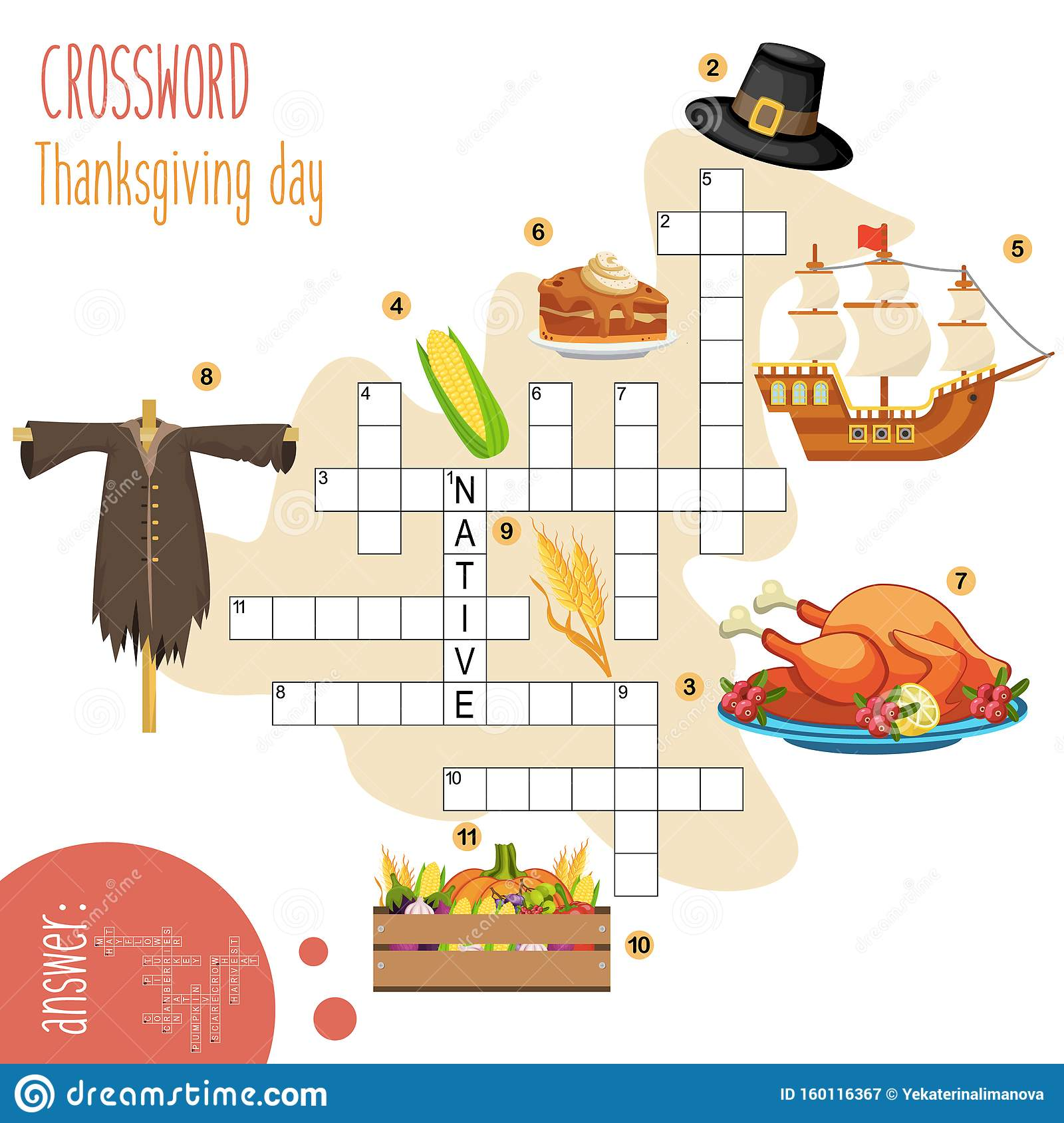 Easy Crossword Puzzle  Thanksgiving Day  Stock Vector