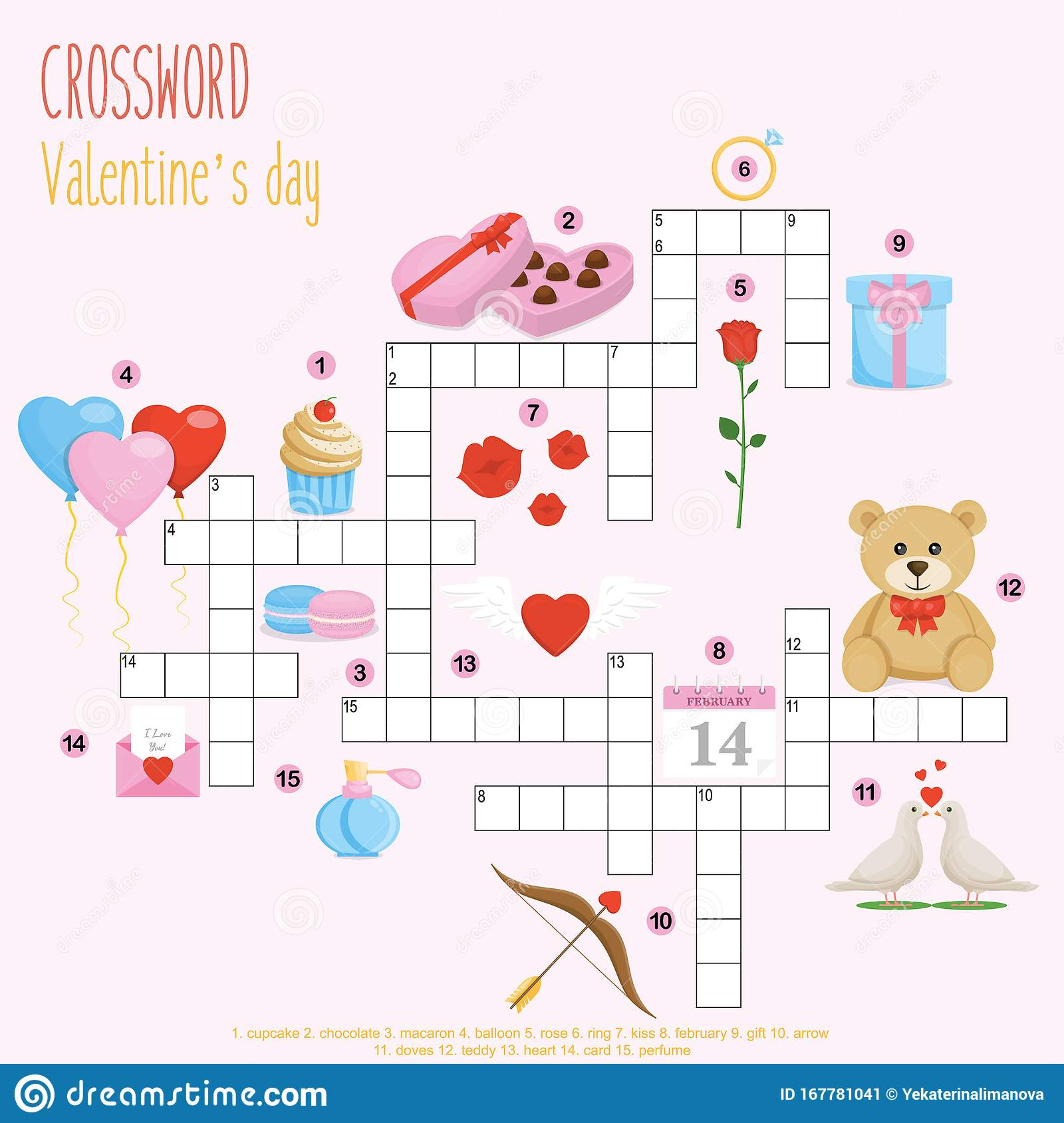 Easy Crossword Puzzle  Valentine S Day  Stock Vector